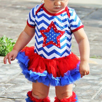 4th of July Chevron Baby Girl Outfit - Petti Skirt - Chevron Bodysuit - Onesuit - 4th of July Chevron Dress - Fourth of July Baby Girl Outfit