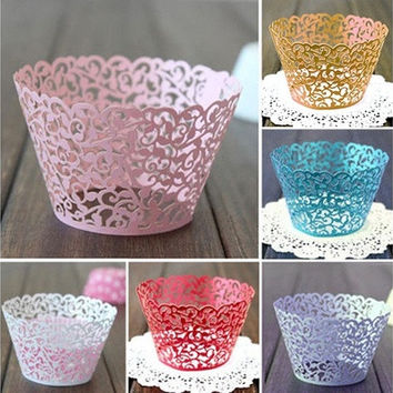 12X Wedding Birthday Baby Shower Filigree Vine Decor Wrapper Wraps Cupcake Cases [7982967623]