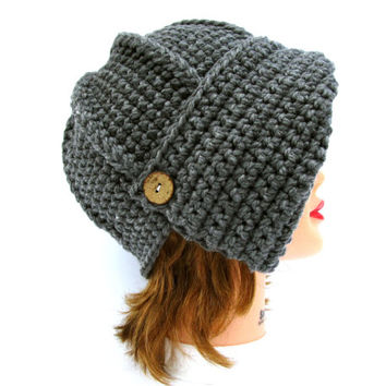 Gray Cloche - Women's Hat With Button - 1920s Cloche Hat - Crochet Cloche - Chunky Flapper Hat - Asymmetrical Cloche - Crochet Accessories