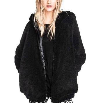 Faux Fur Hooded Coat with Animal Ears