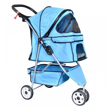 New Blue Pet Stroller Cat Dog Cage 3 Wheels Stroller Travel Folding Carrier T13