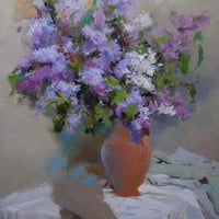 Large Purple Painting Lilac - Original Oil Flowers Painting Still Life - Modern Impressionist Art