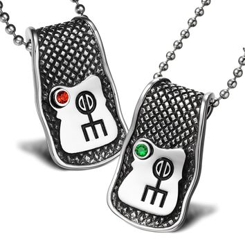 Unique Rune Norse Love Powers Couples or Best Friends Magic Amulets Set Green Red Crystals Necklaces
