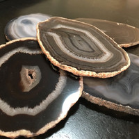 Agate Coaster - Black Agate Coasters - Brazilian agate - Natural Edge Agate Coasters - Crystal Geode Slice - Wedding Birthday Hostest Gift