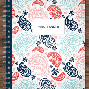 2015 MONTHLY planner custom planner month at a glance planner 2015-2016 calendar MAG / choose your start month / navy blue pink paisley