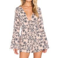 For Love & Lemons Pia Romper in Pale Peach