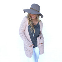 Pretty Please Knit Cardigan Sweater In Pink