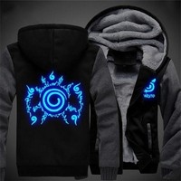 2017 USA SIZE Unisex NARUTO Akatsuki Hoodies Coat Winter Fleece Thicken Luminous Sweatshirts Jacket