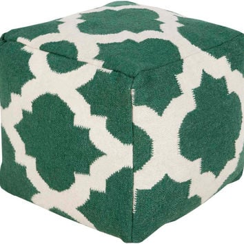 Geometric  Handcrafted Design Wool Cube Pouf - Home Accents | Surya