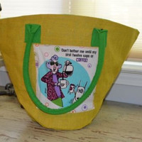 "Maxine Jute Tote ""Dont bother me until my first 12 cups of coffee"" Funny Purse"