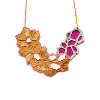 Coral and Gold Statement Necklace, Metallic Hexagon Geometric Leather Bib Necklace | Boo and Boo Factory - Handmade Leather Jewelry