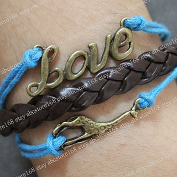 Charm Bracelet-Love Deer Bracelet-Love Bracelet Cuff Leather Rope Bracelet Adjustable