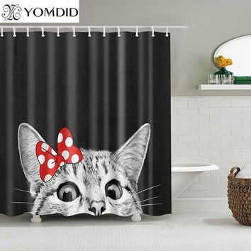 Cute Cat 3D Printed Shower Curtain Cartoon Animal Polyester Fabric Bath Curtain for Bathroom Curtain Decoration Shower Curtains