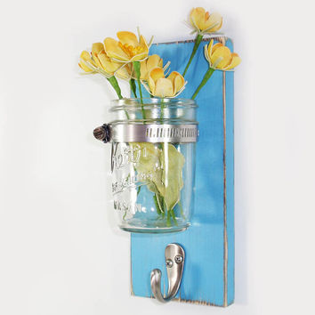 Wall Flower Vase 1 Hook- Key Holder-Little Boy Blue-Towel Hook- Country- French Chic- Shabby- Country Decor- Choose From Many Colors