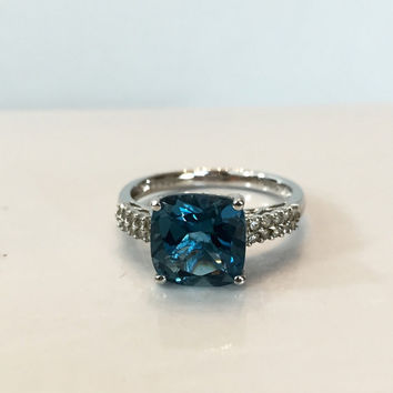 London Blue Topaz Diamond Ring Sterling Silver Band 4 CT Carat Square Gemstone Anniversary Ring Promise Vintage Estate Jewelry Gift For Her