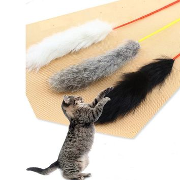 Non-toxic Rabbit Hair Pets Toys Funny Kitten Toys Rabbit Hair Cat Interactive Toys Kitten Chasing Jumping Products Random Color