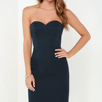 Finders Keepers Delirium Midnight Blue Strapless Midi Dress