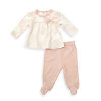 Sterling Baby 2-Piece Medallion Bow Top and Footed Pant Set in Coral