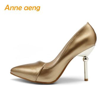 Women Shoes High Thin Heel Sexy Office Ladies' Pumps Silver Golden Elegant Spring Summer Pointed Toe Classic Big Size Lady Shoes
