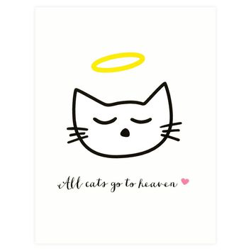 All Cats Go To Heaven Pet Sympathy Card