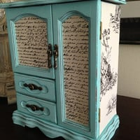 Vintage jewelry box upcycled Hand Painted And Decoupaged Toile French Script Tiffany Blue