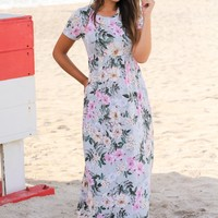 Sage Floral Maxi Dress with Short Sleeves