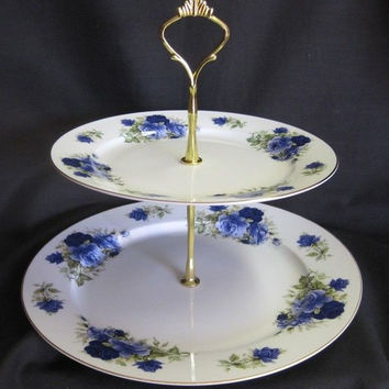2 Tier Summertime Blue Bone China Cake Stand