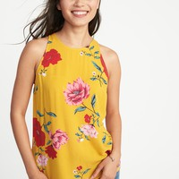 Relaxed High-Neck Floral-Print Tank for Women | Old Navy
