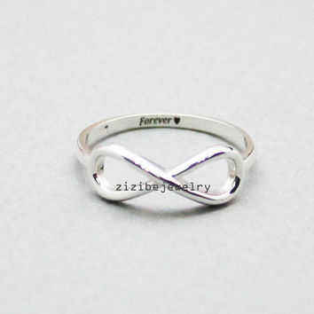 925 Sterling Silver Personalized Infinity Ring, R0830S