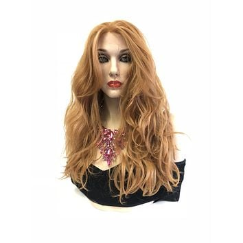 Ginger Strawberry Blonde Hair Lace Front Wig | Multi Parting 13x4 |Volume Curly Layered Hair + Bangs | Ginger