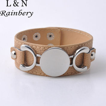 Rainbery 2017 New Fashion Jewelry Silver Plated Monogram Leather Cuff Bracelet Pulseras 3 Row Leather Bracelet For Women Men