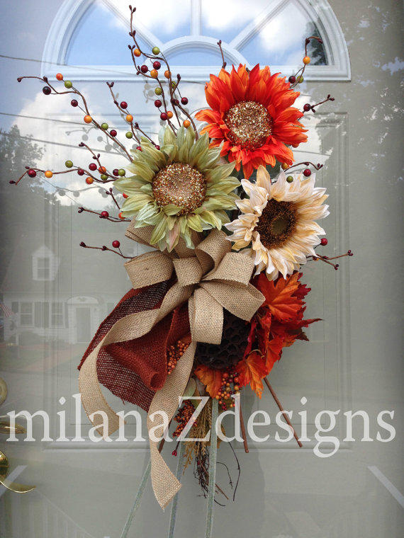 Sunflower Wreath Fall Autumn Swag From Milanazdesigns On