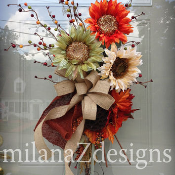 Sunflower Wreath, Fall Autumn Swag, French Country Wedding Decorations, Thanksgiving Decor, Ivory Orange Green Burlap. Floral Arrangement