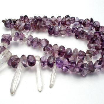 Amethyst Nugget Bead & Quartz Pendulum Necklace