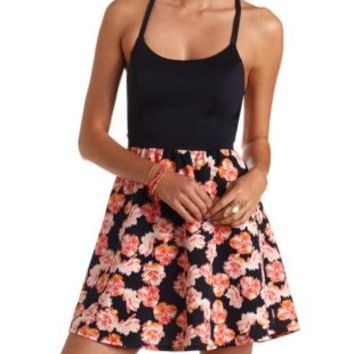 Strappy Backless Floral Print Skater Dress - Navy Combo