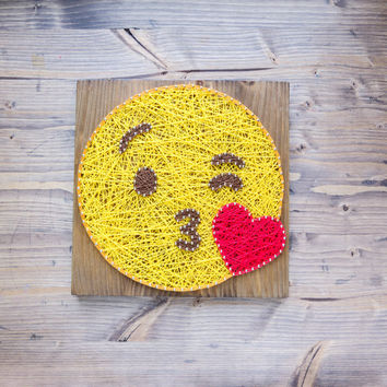 Modern Emoji String Art Wall Decor, yellow kiss emoji decoration great gift for somebody who has everything, valentines day gift