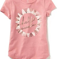 Old Navy Crew Neck Graphic Tee For Girls