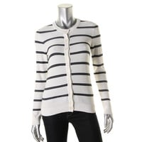 Tommy Hilfiger Womens Cotton Striped Cardigan Sweater