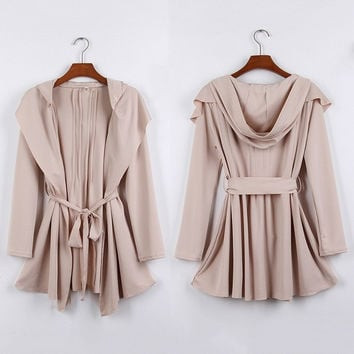 Womens Punk Funky Hoodie Long Trench Coat Belt Windbraker Jacket Beige