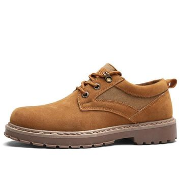 Men's Metal Eyelets Big Head Lace Up Casual Work Shoes