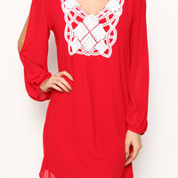 LACE PATCH OPEN SLEEVE DRESS