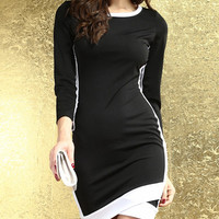 Black and White Long Sleeve Wrapped Mini Dress