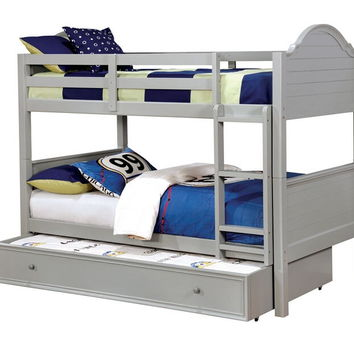 Denise collection gray finish wood twin over twin paneled headboards bunk bed set