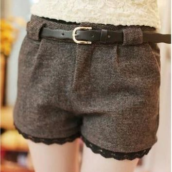 2017 New Arrival Fashionable Woman Bootcut Trousers Culottes Short Winter Boots Shorts Winter Wool Shorts
