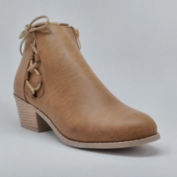 Women's Camel Short Stacked Heel Boot with Laces