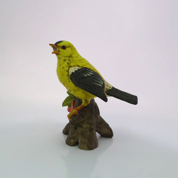 Porcelain Bird Figurine, American Goldfinch, Yellow Finch Figure, Black Yellow Bird, UCTCI Japan, Yellow Bird Figurine, Eastern Goldfinch