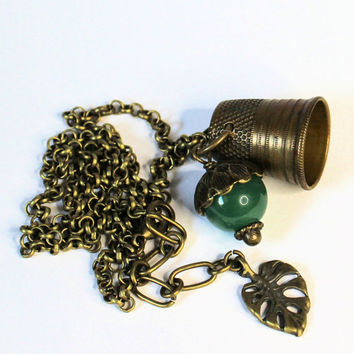 Peter Pan and Wendy Hidden Kisses Thimble and Acorn Necklace Brass