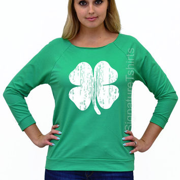 St. Patricks Day Off The Shoulder, Clover tshirt, Shamrock Shirt, St. Patty's Shirt, Shamrock Off Shoulder, Irish T-Shirt long sleeve