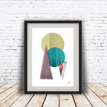 PRINT of Abstract art Triangles and Circles Geometric art Retro poster Minimal Modern Scandinavian Nordic Style Abstract Digital poster