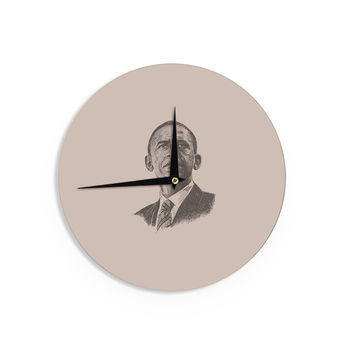 "BarmalisiRTB ""Barack Obama"" Brown Gold Wall Clock"
